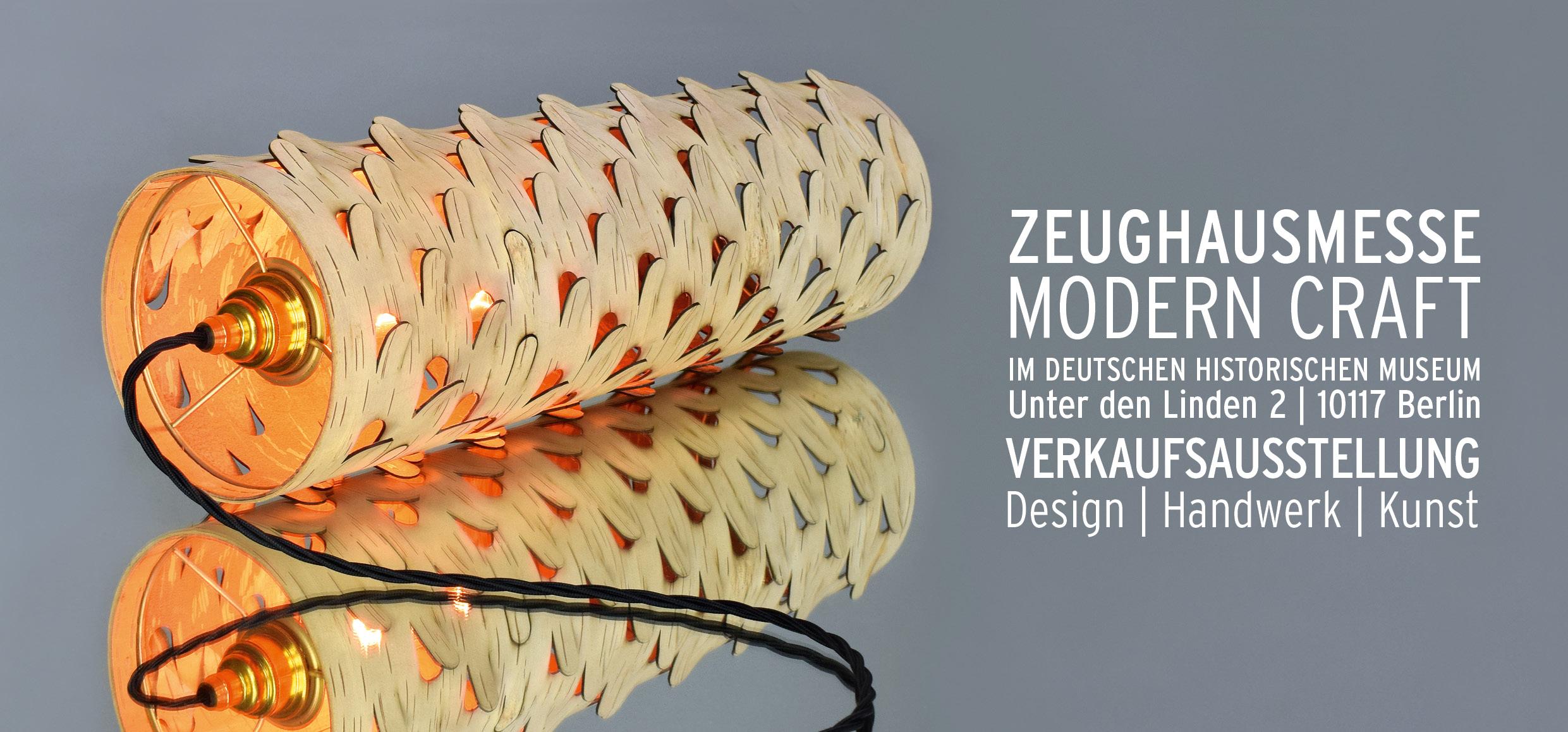 Mit einer Lampe aus Birkenrinde von Anastasyia Koshcheeva wirbt die Zeughausmesse dieses Jahr.