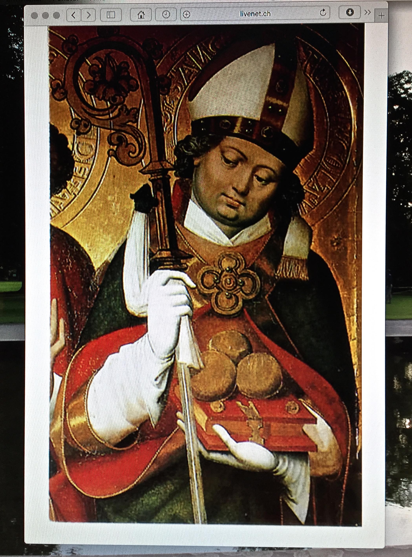 Nikolaus von Myra mit den drei Goldkugeln. Von meinem Bildschirm abfotografiert.